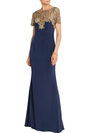 MARCHESA NOTTE Metallic embroidered tulle and stretch-silk gown