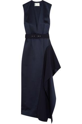 SOLACE LONDON Simpson asymmetric belted charmeuse midi dress