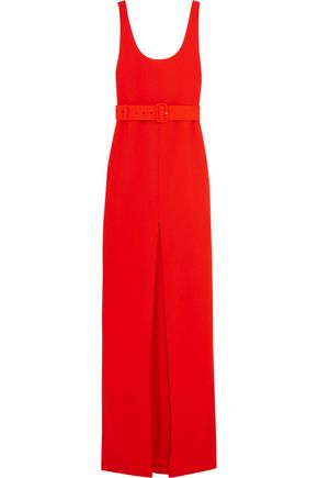 SOLACE LONDON Tara belted stretch-crepe gown