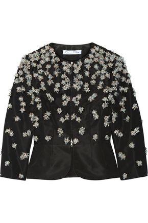 OSCAR DE LA RENTA Embellished silk-faille peplum jacket