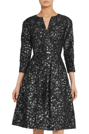 OSCAR DE LA RENTA Embellished metallic fil coupé silk-blend dress
