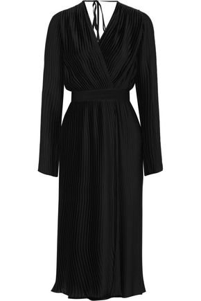 TOME Pleated wrap-effect washed-satin dress