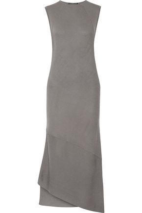 VICTOR ALFARO Asymmetric ribbed merino wool dress