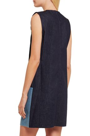 VICTORIA, VICTORIA BECKHAM Patchwork denim mini dress