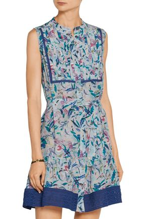 SALONI Tilly printed silk crepe de chine mini dress