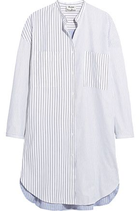 ACNE STUDIOS Esloane pinstriped cotton-piqué shirt dress