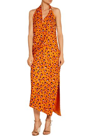 HANEY Madison leopard-print silk halterneck dress