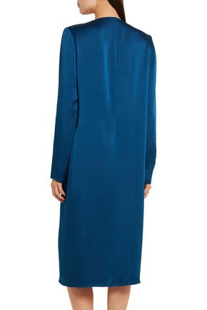 LANVIN Pleated washed-satin midi dress