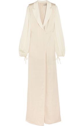 LANVIN Satin-trimmed washed-twill maxi dress