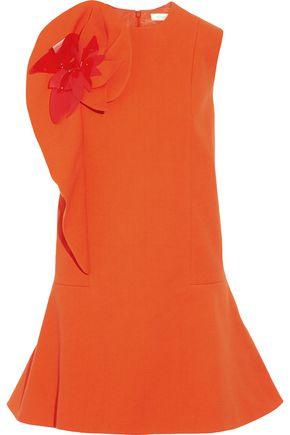 DELPOZO Appliquéd cotton-blend crepe mini dress