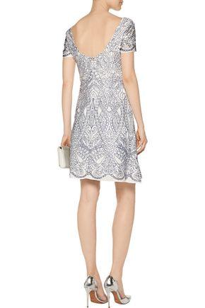 MARCHESA NOTTE Embroidered cutout satin mini dress
