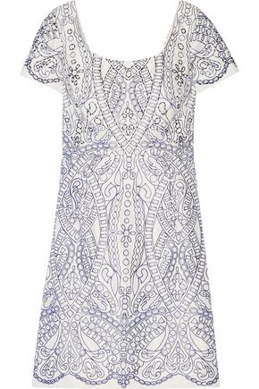 MARCHESA NOTTE Embroidered cutout satin mini dress