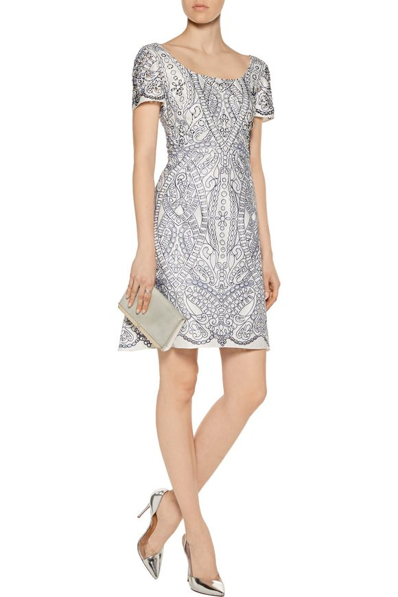 Embroidered cutout satin mini dress | MARCHESA NOTTE | Sale up to 70% off |  THE OUTNET