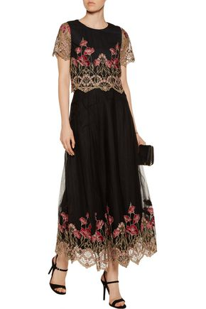 MARCHESA NOTTE Embroidered tulle top and maxi skirt set