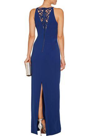 BADGLEY MISCHKA Cutout crepe gown