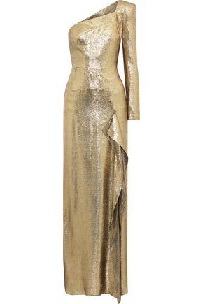 ROLAND MOURET Galaham one-shoulder silk-blend lamé gown