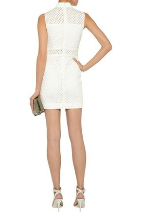 ELIZABETH AND JAMES Neri latticed stretch-crepe and mesh mini dress
