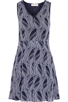 MICHAEL MICHAEL KORS Burell pleated printed crepe mini dress