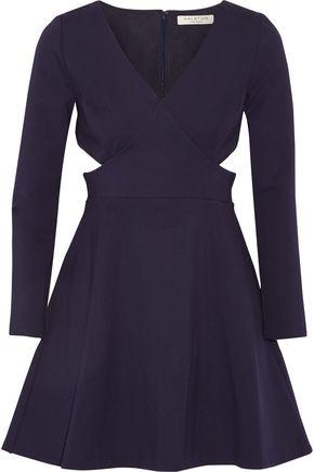 HALSTON HERITAGE Cutout neoprene mini dress