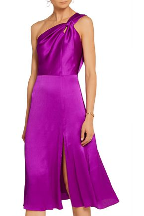 CUSHNIE ET OCHS One-shoulder silk-charmeuse dress