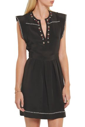 ISABEL MARANT Fergie embellished silk-twill mini dress