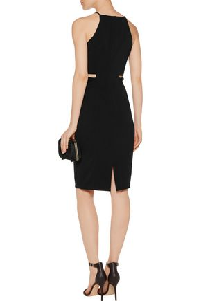 BADGLEY MISCHKA Cutout stretch-crepe dress