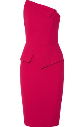 ROLAND MOURET Thayer strapless wool-crepe dress
