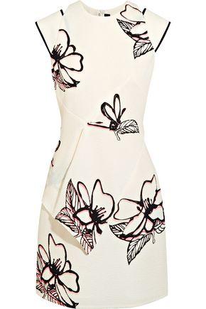 ROLAND MOURET Floral-print cloqué mini dress