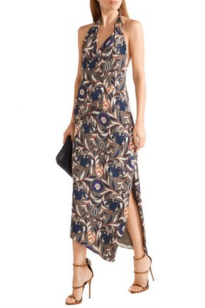 HANEY Madison printed silk halterneck dress
