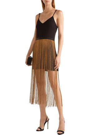HANEY Fringed crepe mini dress
