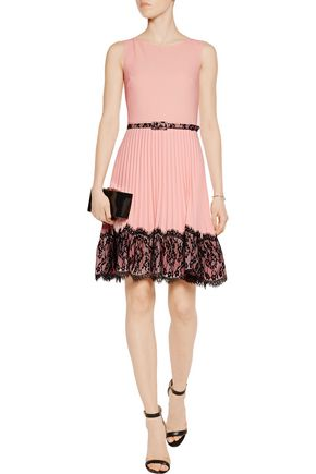 MIKAEL AGHAL Belted lace-trimmed crepe dress