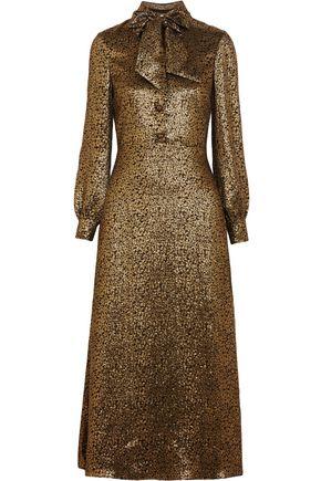 SAINT LAURENT Silk-blend lamé midi dress
