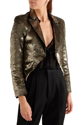 SAINT LAURENT Cropped sequined crepe jacket