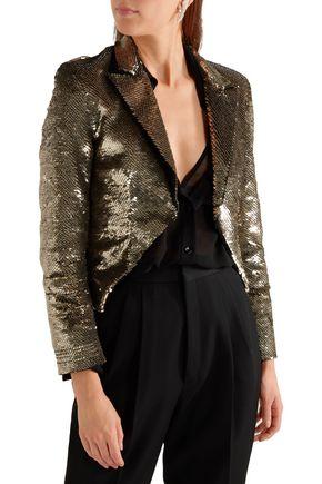 SAINT LAURENT Cropped sequined crepe jacket