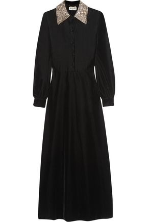 SAINT LAURENT Crystal-embellished velvet midi dress