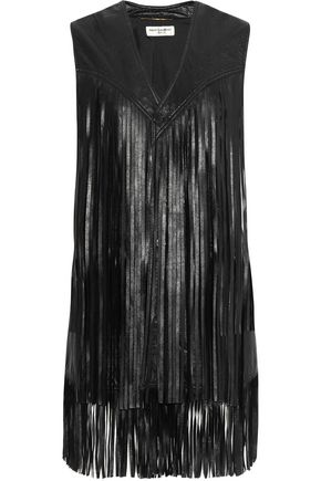 SAINT LAURENT Fringed leather vest