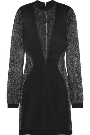 BALMAIN Paneled stretch-knit mini dress
