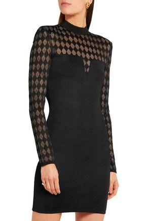 BALMAIN Paneled stretch-crepe mini dress