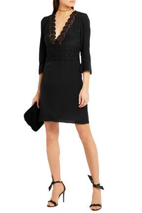 VANESSA BRUNO Flirt lace-paneled silk mini dress