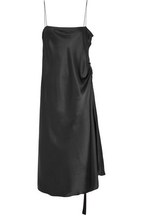 ELLERY Tony grosgrain-trimmed silk-satin midi dress