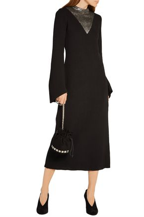 •ELLERY• Pippin lamé-paneled stretch-knit midi dress