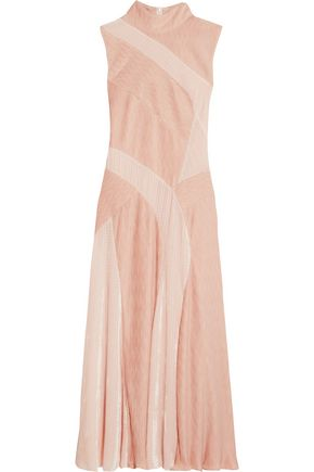 ADEAM Velvet-paneled plissé-chiffon dress