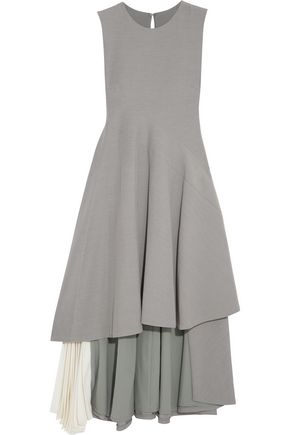 ADEAM Asymmetric chiffon-paneled stretch-crepe dress
