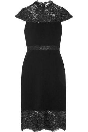 ALICE + OLIVIA Kim corded lace-paneled crepe dress