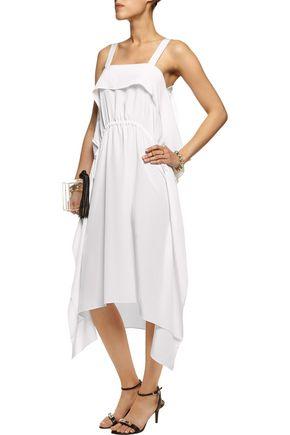 ISSA Adriana draped silk crepe de chine midi dress