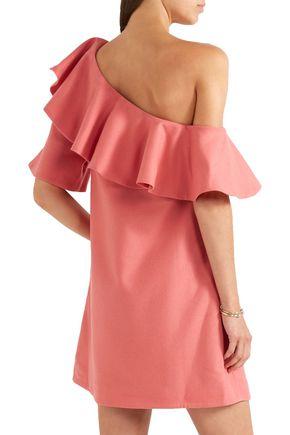 PAPER London Chi Chi ruffled one-shoulder cotton-twill mini dress
