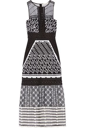 JONATHAN SIMKHAI Pointelle-trimmed embroidered organza midi dress