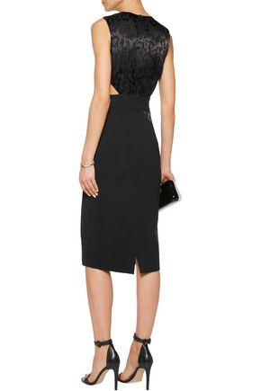 CUSHNIE ET OCHS Cutout stretch-cady and devoré satin midi dress