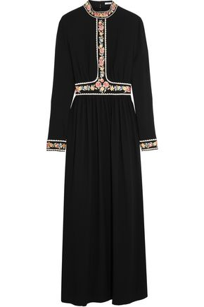 VILSHENKO Embroidered crepe maxi dress