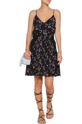 REBECCA MINKOFF Refraction pleated floral-print crepe mini dress